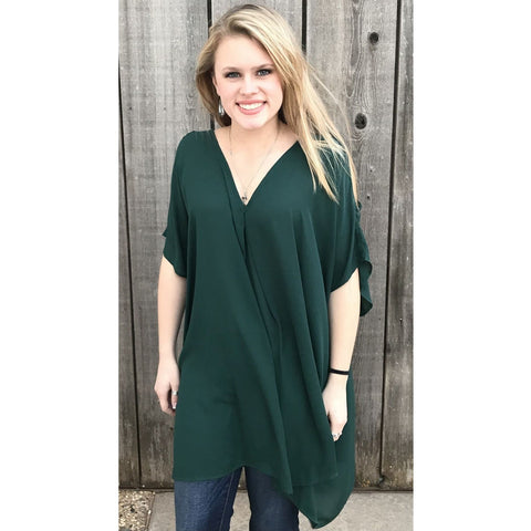Cold Shoulder Sienna VNeck Tunic - Teal