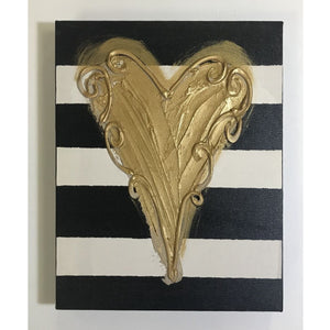 Horizontal Stripe with Heart Canvas Art 11x14