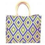 Jute Tote - Blue/Kelly