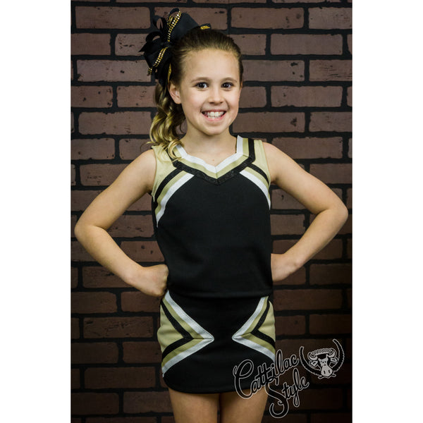 Black & Vegas Gold Cheer Suit