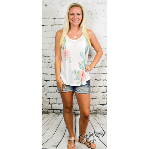Watercolor Cactus Racer-back Tank