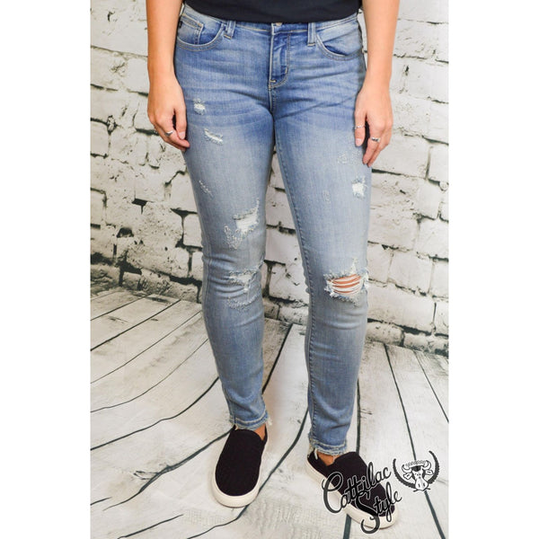 Cropped Ankle Fray Skinny Jeans