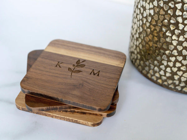 Personalized Engraved Coasters - Custom Wedding Gift - Wooden Coasters - coasters personalized - coaster set - coaster wedding favors - 060
