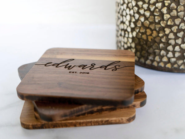 Calligraphy Name Coasters - 001