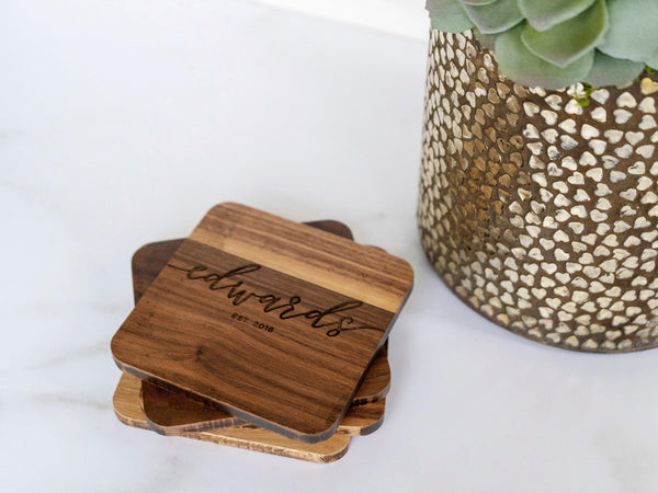 Personalized Engraved Coasters - Custom Wedding Gift - Wooden Coasters - coasters personalized - coaster set - coaster wedding favors - 001