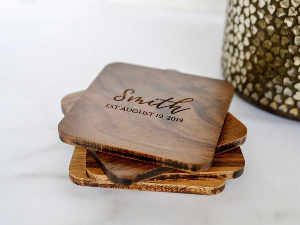 Personalized Engraved Coasters - Custom Wedding Gift - Wooden Coasters - coasters personalized - coaster set - coaster wedding favors - 008