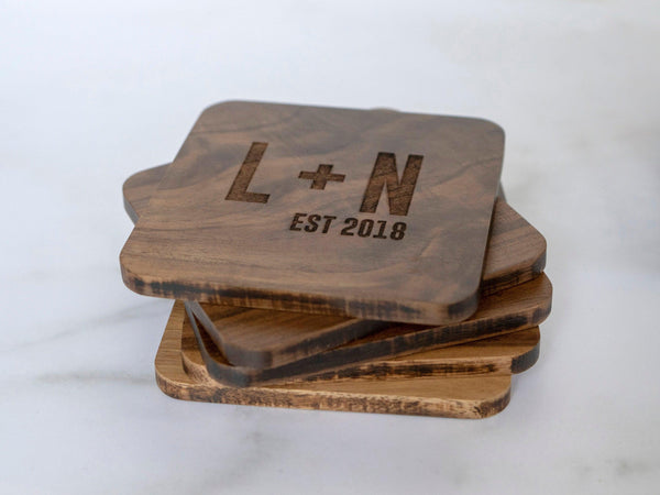 Personalized Coasters Personalized - Custom Coasters - Engraved Coasters - Wood Coasters engraved - coaster set - coaster wedding favors 038