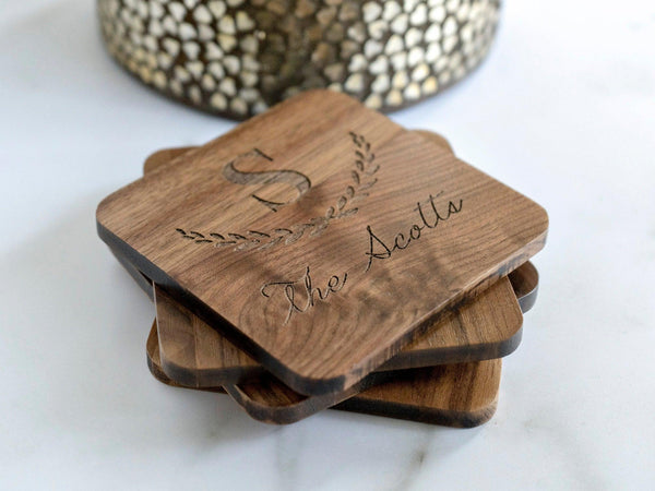 Personalized Coasters Personalized - Custom Coasters - Engraved Coasters - Wood Coasters engraved - coaster set - coaster wedding favors 002