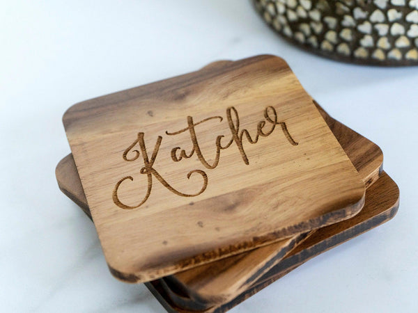 Personalized Coasters Personalized - Custom Coasters - Engraved Coasters - Wood Coasters engraved - coaster set - coaster wedding favors 029
