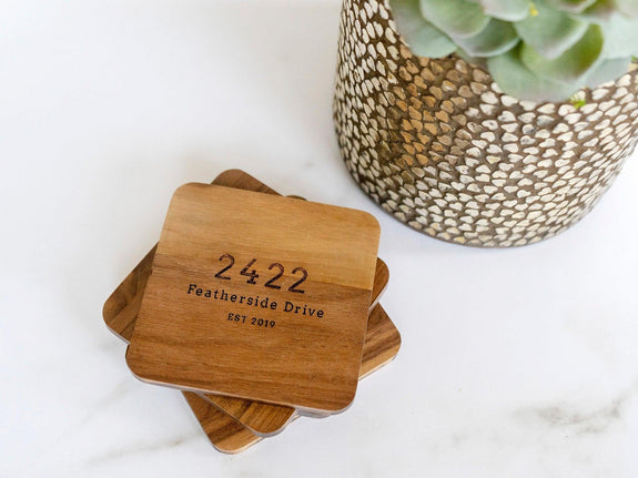 Personalized Coasters Personalized - Custom Coasters - Engraved Coasters - Wood Coasters engraved - coaster set - coaster wedding favors 040