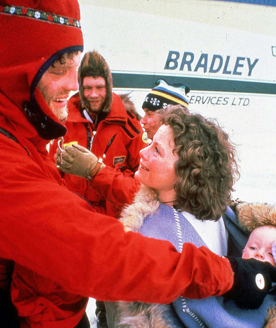 Susan and Paul Schurke seeing each other for the first time after the 1986 North Pole expedition