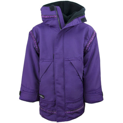 Wintergreen Northern Wear Anorak 3/4 / Amethyst Shell (Viking Trim) Combo Anorak (Kid's) winter camping clothing clothing for winter camping made in america clothing made in america made in minnesota minnesota made hand made clothing outdoor outdoor clothing american made clothing dogsledding clothing for dogsledding winter clothing canoe clothing clothing for canoeing minnesota ely hand crafted clothing hand made outdoor clothing conscious closet conscious consumer buy local locally made