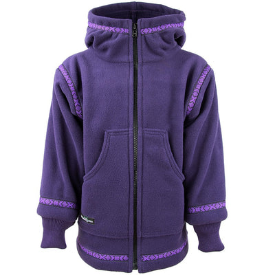 Wintergreen Northern Wear Anorak 3/4 / Amethyst (Viking Trim) Expedition Fleece Anorak (Kid's) winter camping clothing clothing for winter camping made in america clothing made in america made in minnesota minnesota made hand made clothing outdoor outdoor clothing american made clothing dogsledding clothing for dogsledding winter clothing canoe clothing clothing for canoeing minnesota ely hand crafted clothing hand made outdoor clothing conscious closet conscious consumer buy local locally made