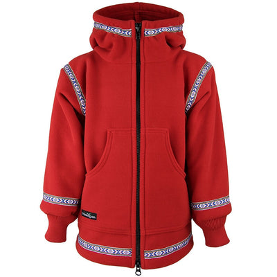 Wintergreen Northern Wear Anorak 3/4 / Red (Uppland Trim) Expedition Fleece Anorak (Kid's) winter camping clothing clothing for winter camping made in america clothing made in america made in minnesota minnesota made hand made clothing outdoor outdoor clothing american made clothing dogsledding clothing for dogsledding winter clothing canoe clothing clothing for canoeing minnesota ely hand crafted clothing hand made outdoor clothing conscious closet conscious consumer buy local locally made