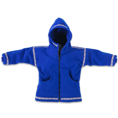 Wintergreen Northern Wear Anorak 3/4 / Royal Blue (Uppland Trim) Expedition Fleece Anorak (Kid's) winter camping clothing clothing for winter camping made in america clothing made in america made in minnesota minnesota made hand made clothing outdoor outdoor clothing american made clothing dogsledding clothing for dogsledding winter clothing canoe clothing clothing for canoeing minnesota ely hand crafted clothing hand made outdoor clothing conscious closet conscious consumer buy local locally made