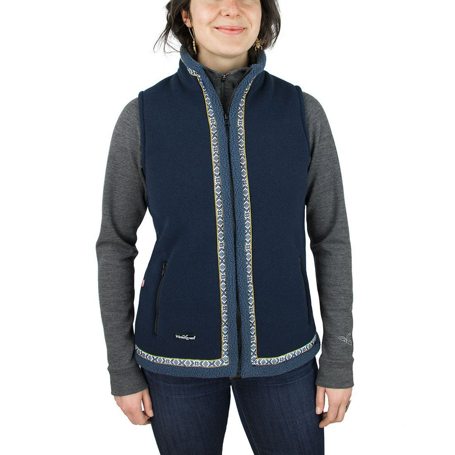 Wintergreen Northern Wear Vest Small / Midnight (Blueberry Twist Trim) New! Vinland Vest (Women's) clothing made in america minnesota made outdoor clothing ely hand made outdoor clothing Made in USA