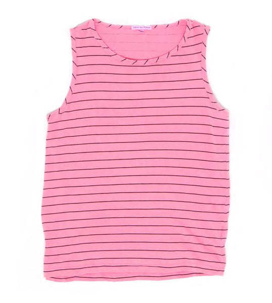 The Surfer - Neon Pink O/D Stripe Tank Top