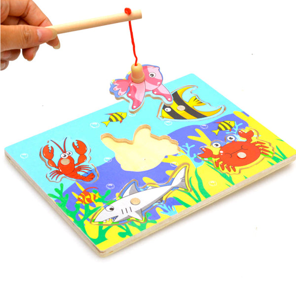 Candywood Small Magnetic Puzzle Wooden Fishing Game for Kids - Bleuette Global