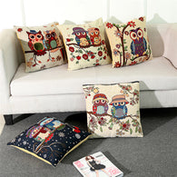 Vintage Cotton Cover Owl Linen Pillow Case  Waist Throw Cushion Home B4 - Bleuette Global