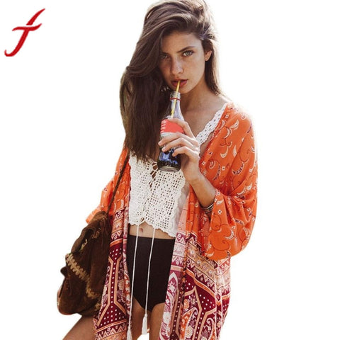 Chiffon Kimono Cardigan Boho Shawl Long Blouses for Women - Bleuette Global