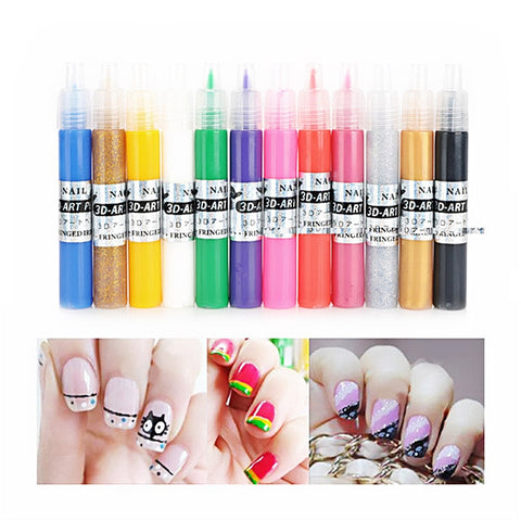 12 Colors UV Gel Acrylic Tips 3D Nail Art DIY Painting Polish Pen Set - Bleuette Global