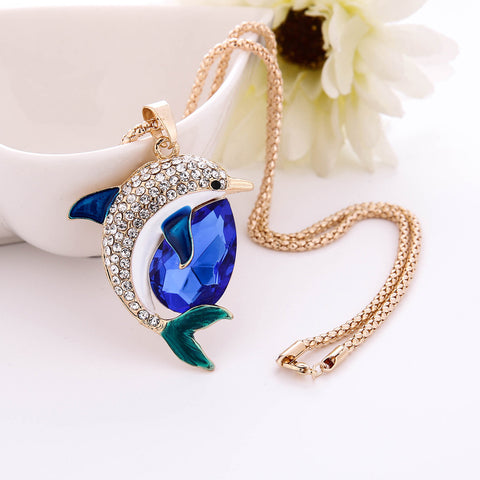 Charm Bridal Engagement Crystal Rhinestone Cute Pendant Sweater Necklace - Bleuette Global
