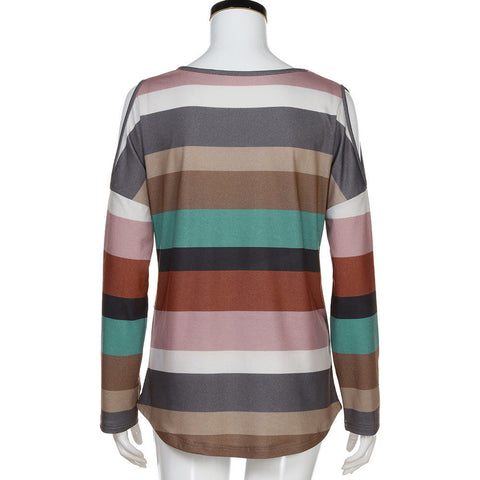 Women Rainbow Striped Long Sleeve Tops Strapless Blouse T Shirt - Bleuette Global