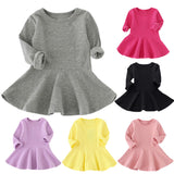 Baby Girls Candy Color Long Sleeve Solid Princess Casual Dress - Bleuette Global