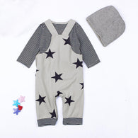 3PCS Set Newborn Baby Sets Stripe T-shirt Top Bib Pants Overall Hat Outfits Set