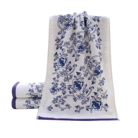 "13 x 29"" Floral Soft Cotton Bamboo Fiber Towels - Bleuette Global"