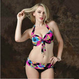 2018 Women's Floral Print Wire Free Push Up Bikinis (Plus Size 4 - 7XL) - Bleuette Global