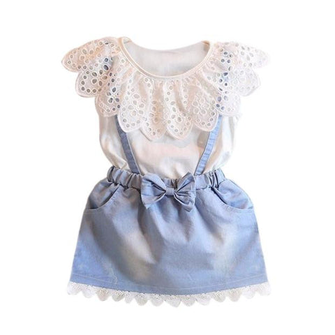 Baby Girl Princess Party Denim Cotton Fancy Flower Tutu Dresses - Bleuette Global