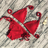 2018 Brazil Scalloped Wave Edge Black Red Bandage Bikinis For Women - Bleuette Global