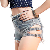 2018 Summer Women's Vintage Ripped Hole Fringe Bandage Denim Shorts - Bleuette Global