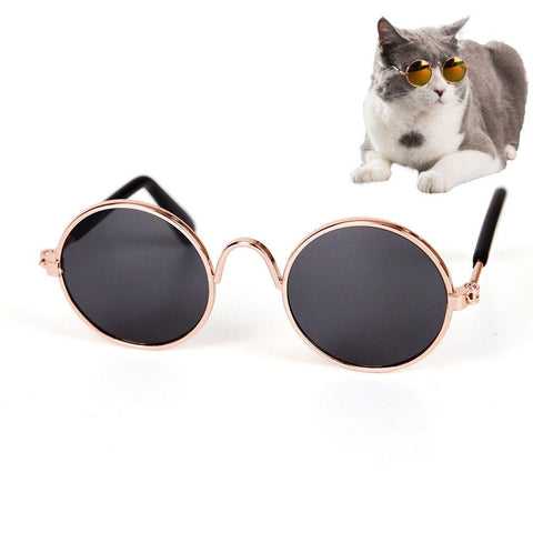 Pet Sunglasses Classic Retro Circular Metal Prince Sunglasses - Bleuette Global