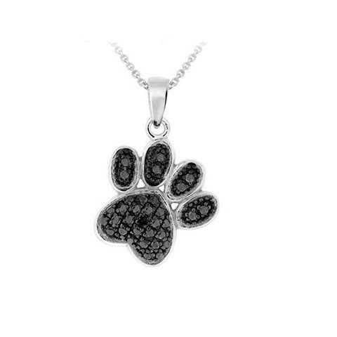 "Silver Overlay Black Diamond Accent Paw Print Pendant with 18"" Chain - Bleuette Global"