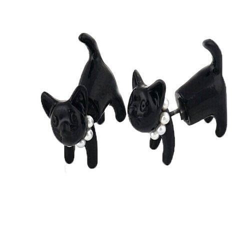 Two Sided Kitten Stud Earring - Bleuette Global