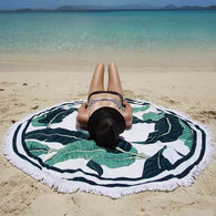 New green leaves with a thin cotton printing tassel circular bath towel beach towel, beach towel yoga mat - Bleuette Global