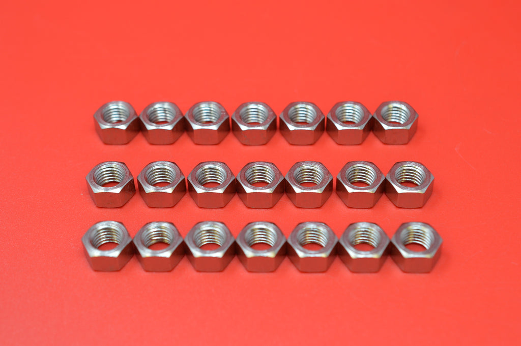0112-21KP Transmission Cover, Top Brake & Clutch Rod Nuts. Qty 21 Nickel Plated