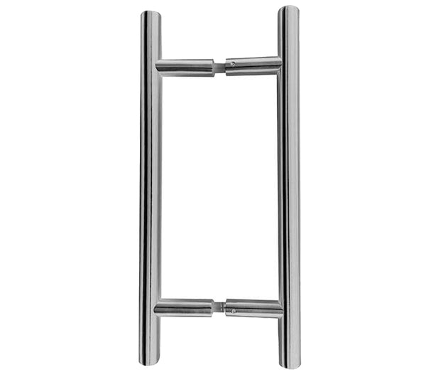Guardsman Stainless steel pull handles back to back - Wakefield Glass & Aluminium