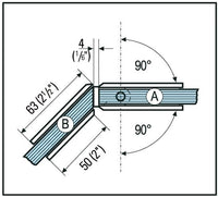 Shower Door Hinge Bilbao glass/glass 135° for 8, 10 & 12mm glass - Wakefield Glass & Aluminium