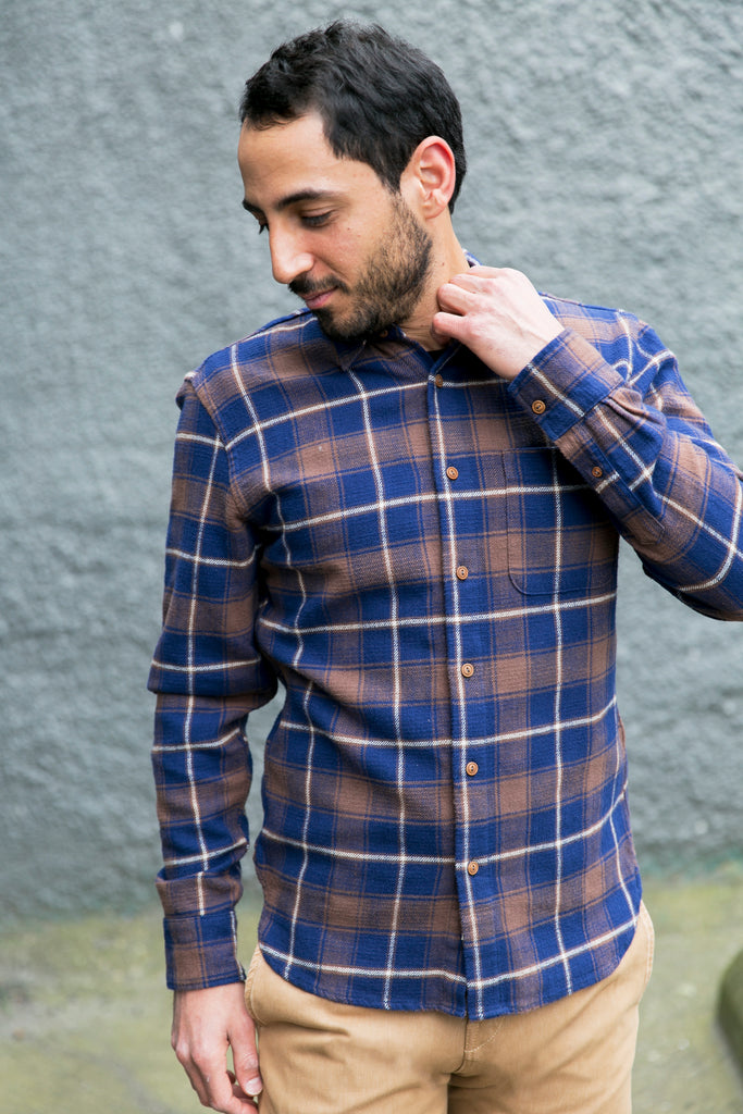 KATO - Slim French Seam Shirt, Blue Check