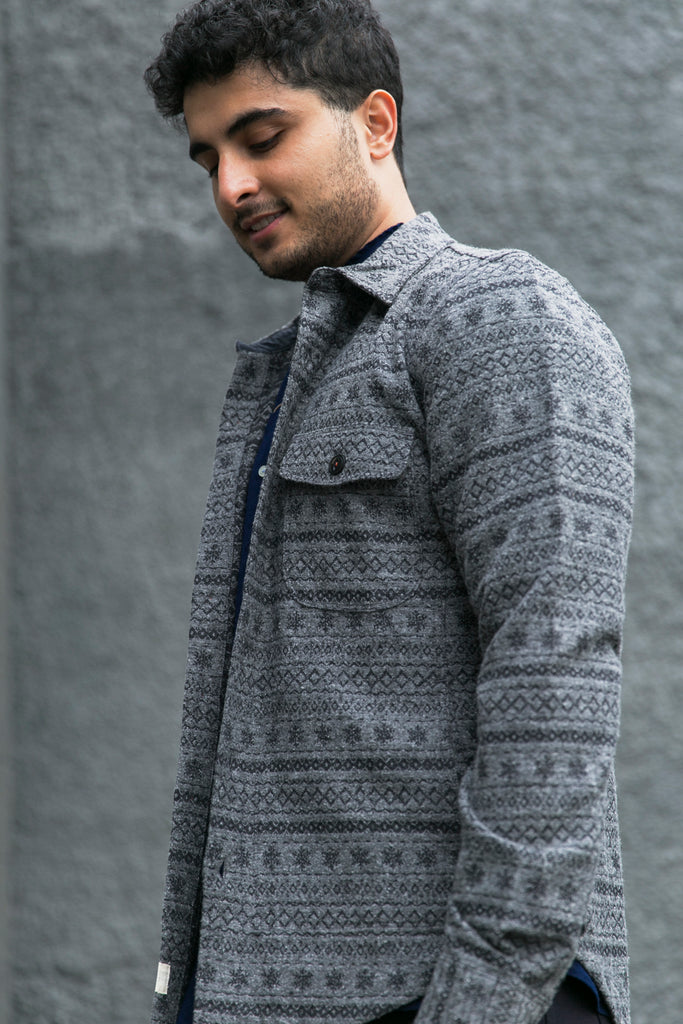 KATO - Shirt Jacket, Native Embroidery, Grey