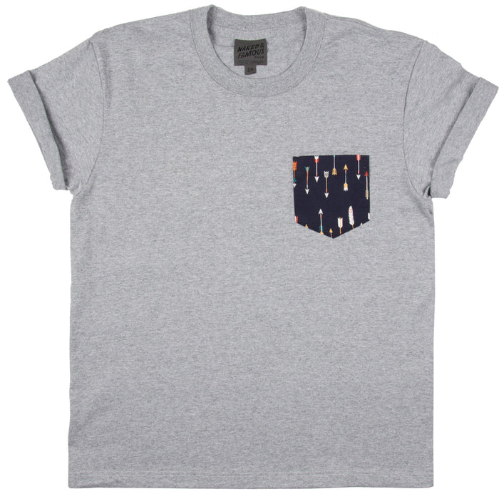 Naked & Famous - Pocket Tee - Grey Mix