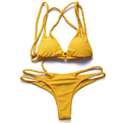 Solid Color Cut Out Bikini Set