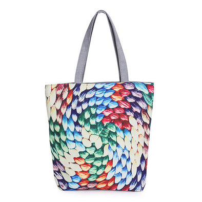 Floral Printed Canvas Beach & Shopping Bag