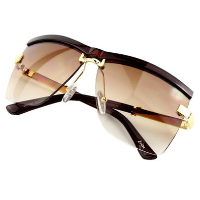 Semi-Rimless Frame Sunglasses
