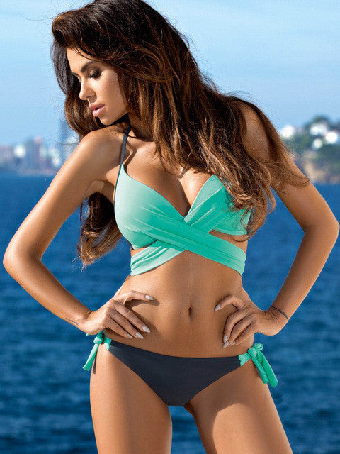 Cross Patchwork Halter Top Bikini Set