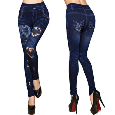 Sexy High Waist Faux Denim Pencil Leggings