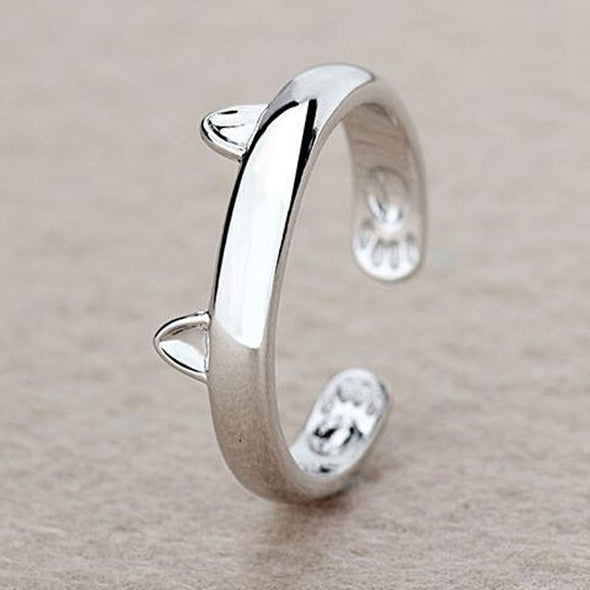 Resizable Silver Plated Cat Ring
